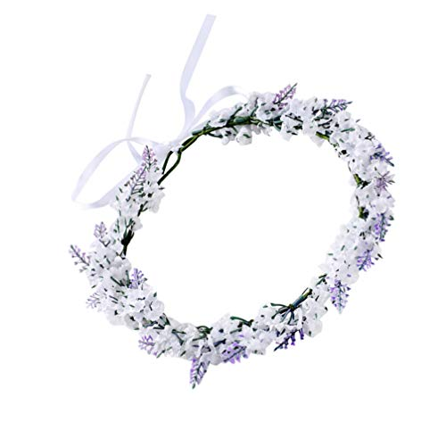 Lurrose Lavender Flower Crown Floral Halo Hair Wreath Wedding Floral Headpiece with Ribbon for Women Girls Beach Vacation Wedding Birthday Party White