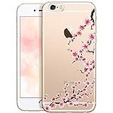 Qult Fundas para iPhone Compatible con iPhone 6 Plus / 6S Plus – Funda de Silicona Transparente con Lindos Motivos – Fundas iPhone Ultra Finas Flor de Cerezo