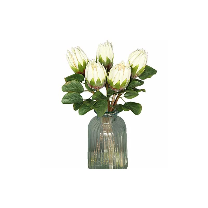 silk flower arrangements calcifer 6 pcs the king protea (protea cynaroides) artificial flowers plants for home garden wedding party decoration (white,68cm)