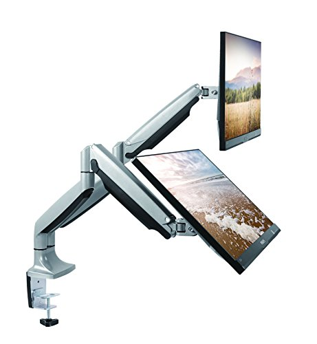 TechOrbits Dual Monitor Mount Stand - SmartSWIVEL - Dual Computer Screen Desk Mount Arms - Full...