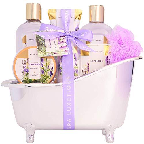 Bad Geschenkset für Sie, SPA LUXETIQUE Beauty Set 8-teiliges Bade- und Dusch Set Lavendel Duft,Vatertags Pflegeset mit Deko Badewanne, Wellness Set Spa Set für Frauen, Perfekte Geschenke für Vater