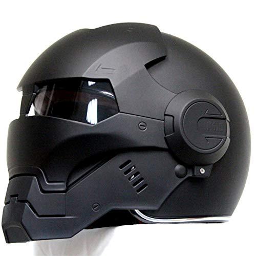MENUDOWN Motorrad Helme,Full Face Touring Motorrad Harley Helm Doppel-Objektiv-Rennhelm Vintage Helm Ironman Persönlichkeit Cooler Helm,Matteblack-XL:(61-62cm)
