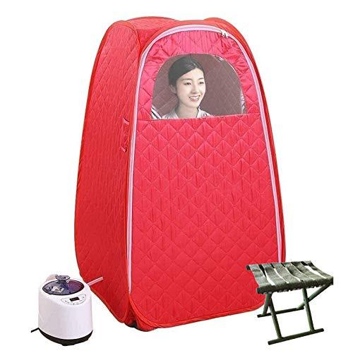 ZYQDRZ Persönliche Dampfsauna, Faltbares Familien-Dampfsauna-Zelt, Badebox-Hydrotherapie-Gewichtsverlustmaschine, Einschließlich Fernbedienung,Rot