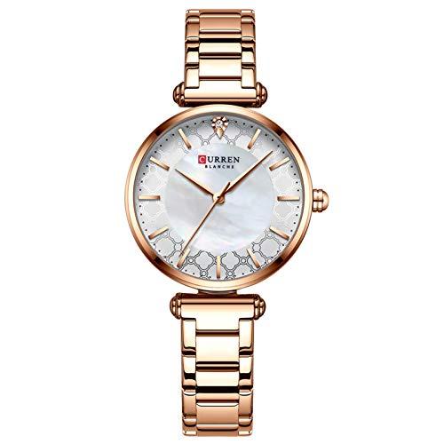 Flytise Reloj de Cuarzo para Mujer con Correa de Acero inoxble Reloj de Pulsera de Moda Relojes 3ATM