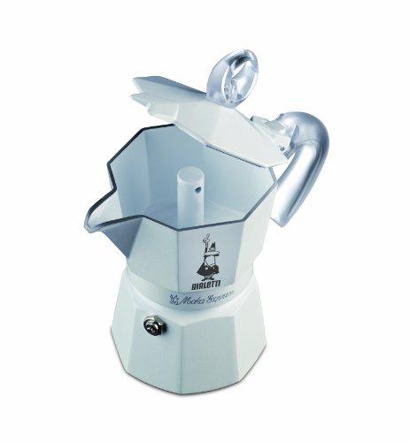 Bialetti 3052 Moka Express Glossy Ceramica - Espressokocher aus Aluminium, weiß lackiert mit Keramikbeschichtung innen für 3 Tassen, weiß