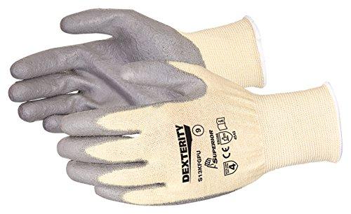 Destrezza PU palm-coated antitaglio string-knit Glove grigio, 7, Cream/Grey, 1