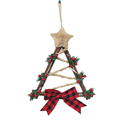 NMFIN 12 Christmas Wreath Decor, Christmas Hanging Wreath with Warm LED Lights Berries Bowknot, Cute Xmas Triangle Garland Ornament for Xmas Party Door Wall Decoration