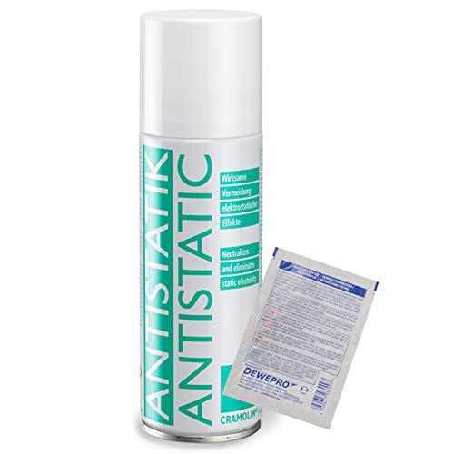 ANTISTATIK 200ml Spraydose - Antistatikspray verhindert statische Aufladung - ITW Cramolin - 1331411 - verringert Schmutzanziehung, inkl. 1 St. DEWEPRO® SingleScrubs