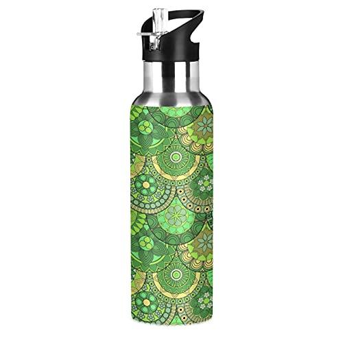 Regalo Flor Verde Cultura Nacional Botella de Agua Deportiva con Pajita Acero Inoxidable, 600ML Botellas Termica Sin BPA para Niños Deporte Gimnasio Ciclismo Escuela