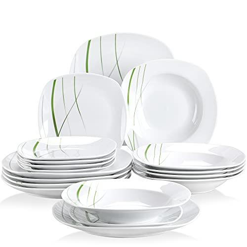 VEWEET Square Dinnerware Set, 18 Piece Dinner Plates, Soup Plates, Dessert Plates, White Kitcken...