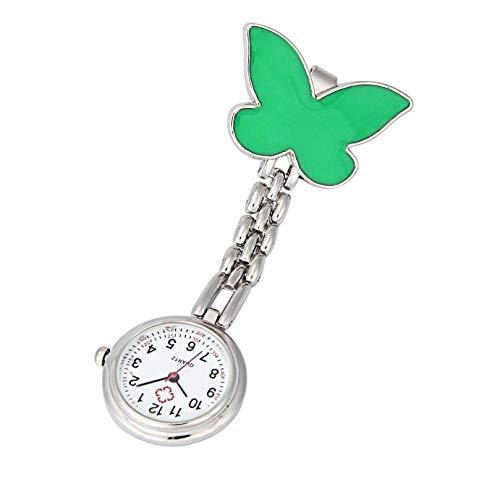 Cxypeng Damen Taschenuhr Krankenschwester,Schmetterling Anhänger Brosche Taschenuhr, hängende Kette Krankenschwester Uhr-Grün,Krankenschwesteruhr/Pulsuhr