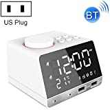 GUPENG Reloj de decoración de Escritorio Alarma K11 Bluetooth Reloj Altavoz Creativo Reloj Digital Music Pantalla Dual de Radio de la Interfaz USB, Soporte U Disco/TF Card/FM/AUX (Color : White)