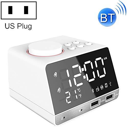 Laifeng ZIMO, K11 Bluetooth-Wecker-Lautsprecher Creative-Digital-Musik-Taktgeber-Anzeige-Radio mit Doppel-USB-Schnittstelle, Unterstützung U Disk/TF/FM/AUX, US-Stecker (schwarz)