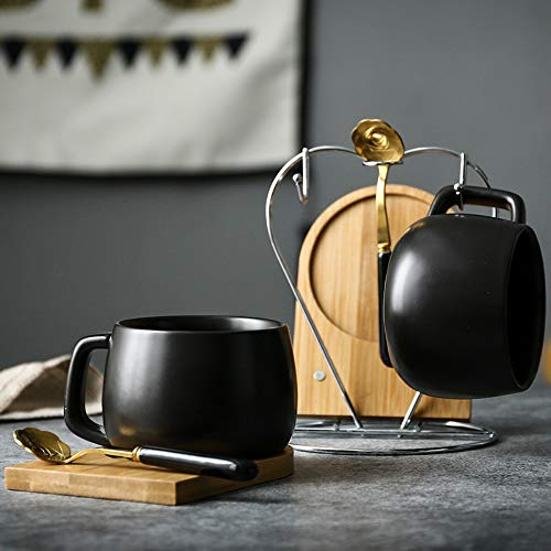 MSNLY Ceramic Gift European Small Luxury Black Coffee Cup Office Mug with Spoon Bamboo Bamboo Water Cup Set