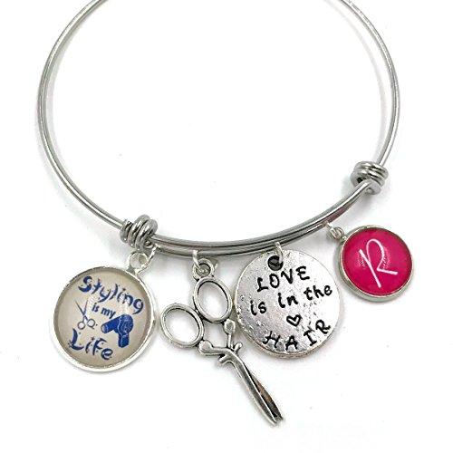 Placcato argento Braccialetto di fascino personalizzato per parrucchieri  braccialetto  braccialetto personalizzato  braccialetto iniziale  monogramma  gioielli  regalo per lei  parrucchiere