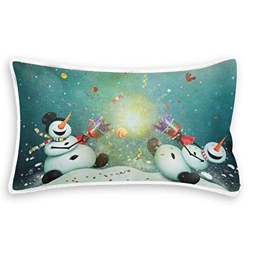 RURUTONG Fundas de almohada de forro polar coral con estampado de muñeco de nieve para cama, sofá, funda de almohada cuadrada para decoración del hogar del coche, 20 x 12 in2010348