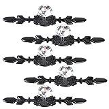 Fvstar 5pcs 4.7' Crystal Cabinet Knobs with Black Backplate Decorative Bling Diamond Drawer Dresser Pulls Clear Glass Vanity Wardrobe Handles Furniture Door Hardware for Kitchen Bedroom Bathroom
