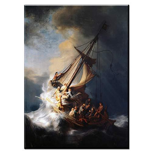 sjkkad Rembrandt schip druk op canvas schilderij muurkunst print schilderij schilderij voor woonkamer decor-50x70 cm geen lijst
