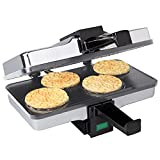 CucinaPro Piccolo Pizzelle Baker, Grey Nonstick Interior, Electric Press Makes 4 Mini Cookies at Once