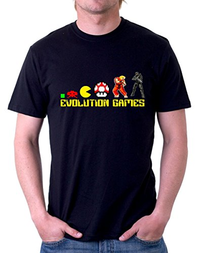 Tshirt Tribute Video Games - Games Evolution - Simpatica - Idea Regalo