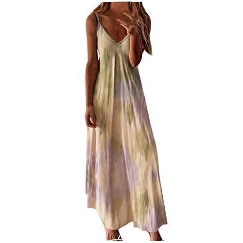 Qigxihkh Mode DamenSexy Plus Size Tie-Dye Print Ärmelloses V-Neck Camisole Langes Kleid(Gelb, 3XL)