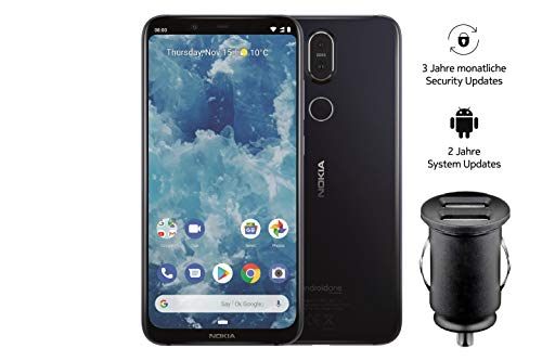 Nokia 8.1 Smartphone (15,69 cm (6,18 Zoll) Full Hd+ Display, 64 GB interner Speicher, Android 9 Pie, Dual Sim, inkl. 12 V KFZ Adapter) blau