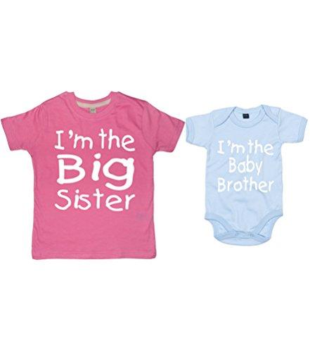 Edward Sinclair personnalisé 'I'm The Big Sister T-Shirt' avec 'I'm The Baby Brother' de Body (Veuillez Le nom d'entrée, Tailles et Couleurs dans la boîte de Message Cadeau.) - Bleu - Taille Unique