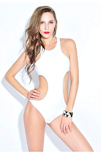 Women's bikini zwembroek, zomer strand zwembroek, Pure Color Push Up Padded badpak, geen stalen ring ontwerp,White,XL