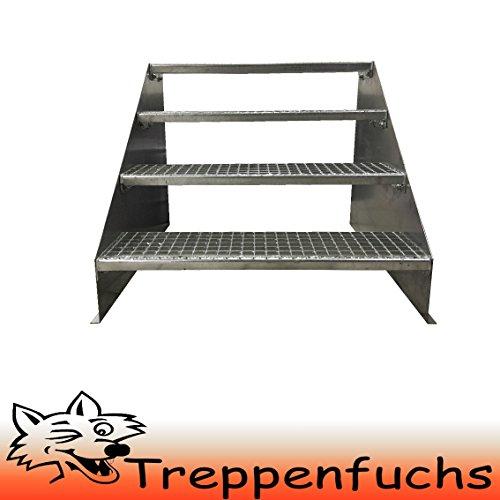 4 Stufen Standtreppe Stahltreppe freistehend Breite 80cm Höhe 84cm Verzinkt/ Robuste Außentreppe / Stabile Industrietreppe für den Außenbereich