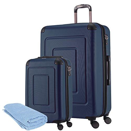 Happy Trolley - 2er Koffer-Set Trolley-Set Rollkoffer Hartschalen-Koffer Reisekoffer Lugano sehr leicht, TSA, (S+XL), Dunkelblau +Badehandtuch