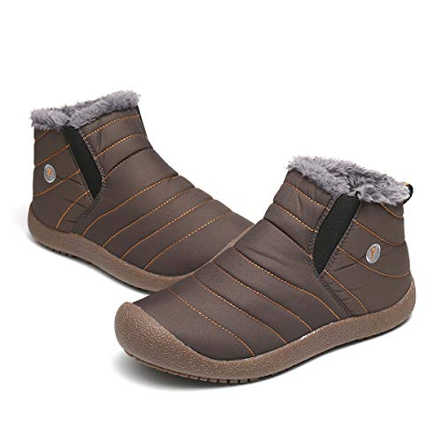 gracosy Snow Boots for Men, Men's Fur Lined Winter Outdoor Slip On Ankle Snow Booties Low Top Shoes
