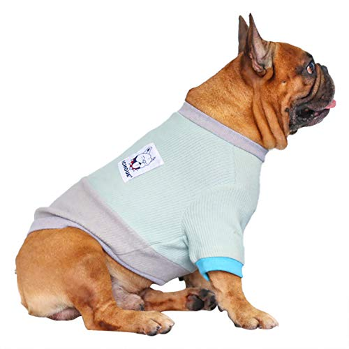 iChoue Pet Dog Crewneck Sweater Color Block Pullover Winter Warm Clothes for French Bulldog Pug Boston Terrier - Light Blue and Grey/L
