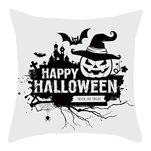 Iusun Fall Halloween Pumpkin Pillow Covers 17.72 x 17.72 Inches Square Waist Throw Case Autumn Harvest Season Decor Sofa Home Decor Cushion Covers (A)