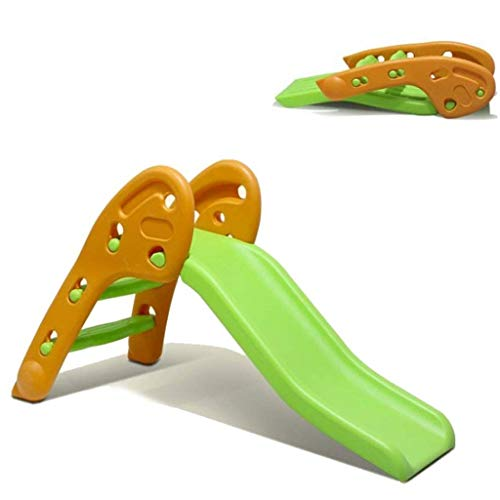 HAen Folding Children Slide, Freestanding Kids First Slide with Climb Steps, Indoor and Outdoor Toddler Play Toy for 1-5 Years Old