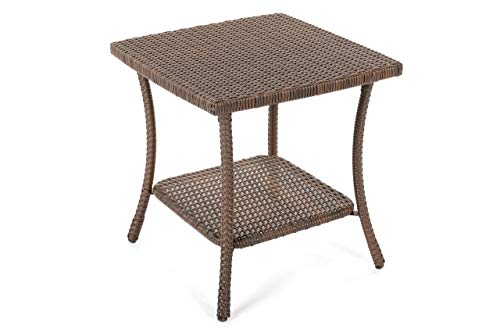 W Unlimited Leisure Collection Outdoor Garden Patio Furniture End Table, Dark Brown