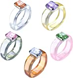MILACOLATO 5-10 uds para Mujer, Anillos Gruesos de Colores, Anillos de Resina Acrílica con Diamantes de Imitación, Anillos de Plástico Retro, Conjunto de Anillos de Resina