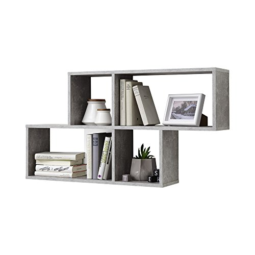 FMD Möbel NORA Wandregal Holz beton/weiß 100 x 19.5 x 53 cm