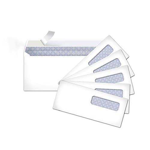 Amazon Basics #10 Security-Tinted Self-Seal Business Envelopes with Left Window, Peel & Seal Closure - 500-Pack, White