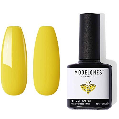 Gel Nagellack Gelb, Modelones Shellac Gellack UV 15ml Gel Nagellack weiß Deckend Soak Off Schellack Nagellack für Nail Art Design Nägel Starter Salon Kit