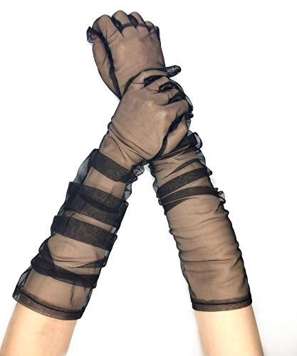 PANAX Edle extra lange Damen Handschuhe in Schwarz aus feinem und elastischem Netzstoff - Stulpen in Einheitsgröße für Frauen, Hochzeit, Oper, Ball, Fasching, Karneval, Tanzen, Halloween…