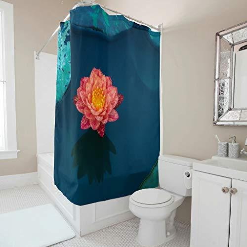 Windhada Duschvorhang Lotus Wasser Lily Wasser Muster Farbfest Stoff Muster Kunst Shower Curtain Badewannenvorhang für Badezimmer Badewanne White 180x200cm