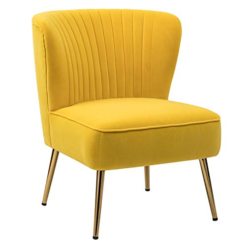 Monica Modern Comfy Velvet Side Chair with Gold Legs for Living Room Bedroom - Yellow