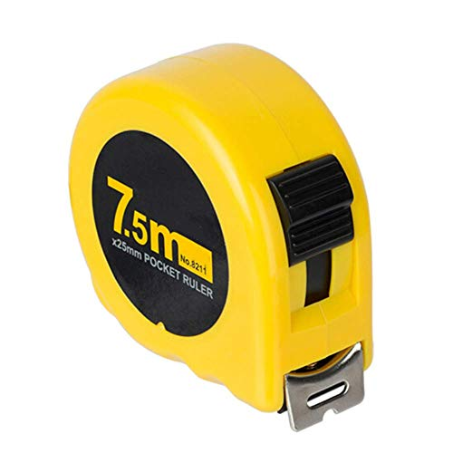 Jwkcm 7.5 Meters High Precision Steel Tape Measure with Clear Precise Double Scale and Magnetic Hook - Wide Tape, Automatic Locking Function, Measuring Ruler