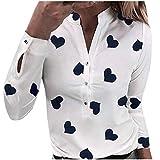 Blusa de mujer, cuello en V, casual, manga larga, camisa moderna, túnica para primavera, otoño, camiseta y cuello alto, monocromática, sudadera para mujer, elegante, camisa fina Blanco XL