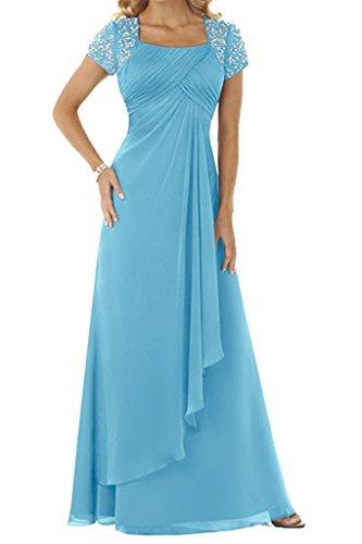 HUINI Abendkleid Chiffon Lang Brautmutterkleid Empire Ballkleid Festkleid mit Ärmel Hochzeitskleid Partykleid Aqua 36