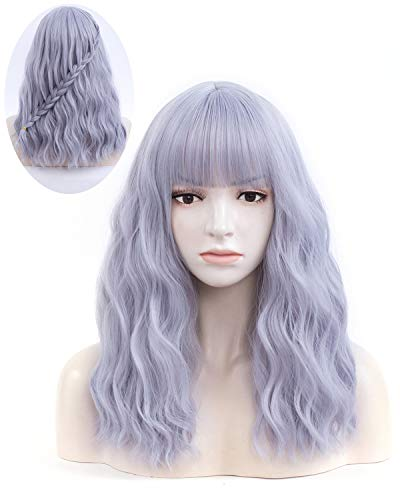"""Iciwueen Gray Blue Wig for Women, 18"""" Long Curly Wavy Wig with Bangs Natural Looking Premium Heat Resistant Synthetic Wigs for Girls Lady Cosplay Party Daily Wear"""