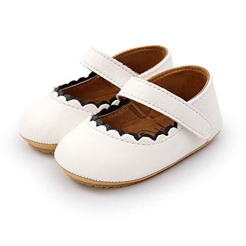 Sandalias de Verano para bebé niñas Suave Antideslizantes de Sandalias de Playa Zapatos de Vestir de Flores de Infantiles para bebé (0-6 meses, blanco)