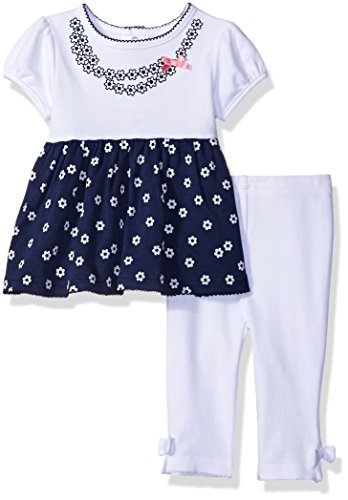 David Tutera Apparel Baby Girls' Top and Legging Set, Navy, 3-6 Months