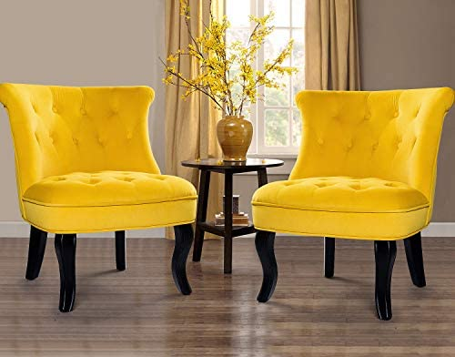 Best Yellow Upholstered Chair (Set of 2) / Jane Tufted Velvet Armless Accent Chair with Black Birch Wood