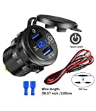 Quick Charge 3.0 Dual USB Car Socket with Touch Switch and LED Digital Voltmeter, Waterproof 36W 12V/24V Fast Charger Socket with 3.3ft Wire 10A Fuse for Marine, Boat, Motorcycle, Truck and More